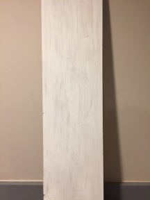 Result after tracing the letters on the wood plank