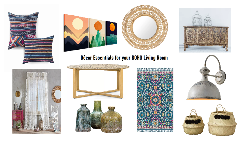 Boho style living room home decor essentials. How to decorate your boho style living room.