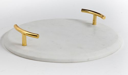 How to use contact paper to make a marble and gold handle tray. DIY Marble and gold tray.