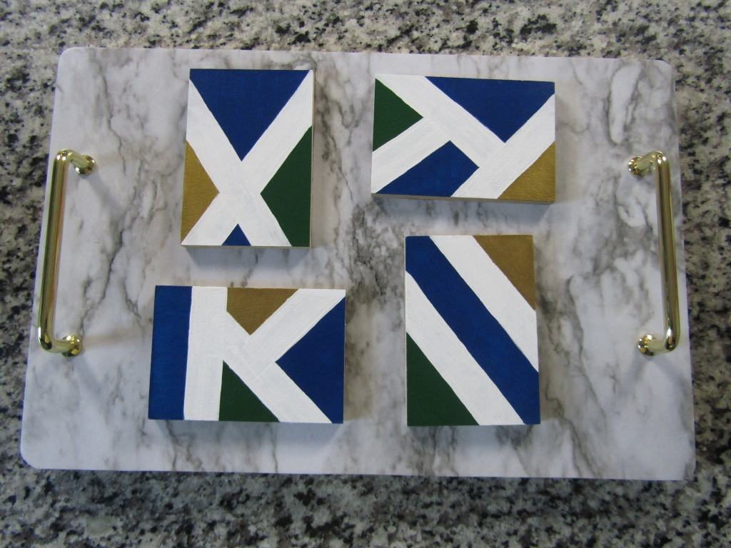 How to reuse laminate floor sample to make coaster. DIY decorative coaster set. DIY coasters using acrylic paint. DIY laminate wood coasters